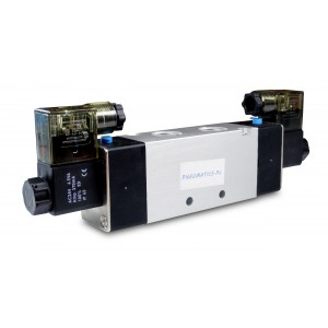 Magneettiventtiili 4V220 5/2 1/4 tuumaa pneumaattisille sylintereille 230 V tai 12 V, 24 V