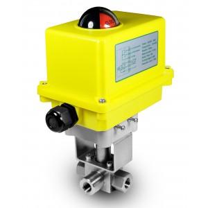 Korkeapaineinen 3-suuntainen palloventtiili, 1/2 tuuman SS304 HB23, sähkötoimilaitteella A250
