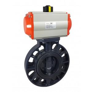 Läppäventtiili, kaasuläppä DN50 UPVC pneumaattisella toimilaitteella AT63