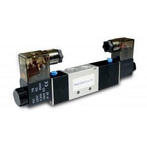 Magneettiventtiili 4V230C 5/3 1/4 tuumaa pneumaattisille sylintereille 230 V tai 12 V, 24 V