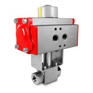 Korkeapaineinen palloventtiili 1/4 tuuman SS304 HB22 pneumaattisella toimilaitteella AT40