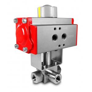 Korkeapaineinen 3-tie palloventtiili 3/8 tuuman SS304 HB23, pneumaattisella toimilaitteella AT52