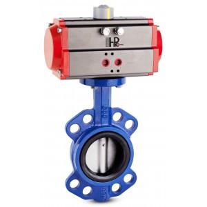 Läppäventtiili, kaasuläppä DN100 pneumaattisella toimilaitteella AT83