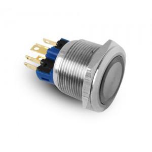 Painike 22 mm ruostumatonta terästä IP65 LED 230V tai 24V sininen hetkellinen