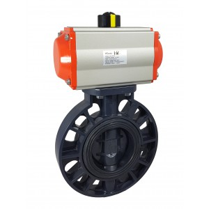 Läppäventtiili, kaasuläppä DN150 UPVC pneumaattisella toimilaitteella AT105