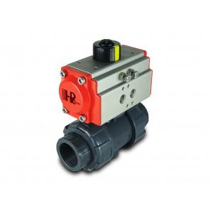 Palloventtiili UPVC 1 1/4 tuuman DN32 pneumaattisella toimilaitteella AT40