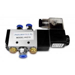Magneettiventtiili 5/2 4V210 1/4 tuumaa pneumaattisille sylintereille + liittimille 8mm