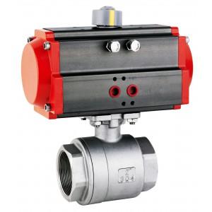 Ruostumattomasta teräksestä valmistettu palloventtiili 1 1/2 tuuman DN40, pneumaattisella toimilaitteella AT63