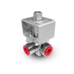 Korkeapaineinen 3-suuntainen palloventtiili, 1/4 tuuman SS304 HB23 asennuslevy ISO5211
