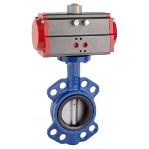Läppäventtiili, kaasuläppä DN80 pneumaattisella toimilaitteella AT75