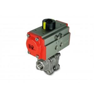 1/2 tuuman korkeapaineinen palloventtiili DN15 PN125 pneumaattisella toimilaitteella AT40